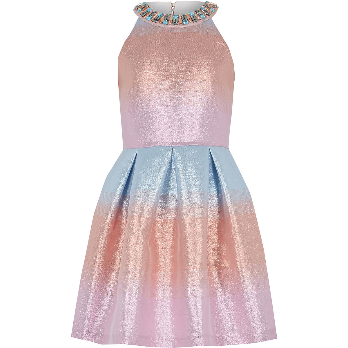 Girls pink ombre metallic prom dress