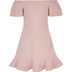 Girls pink bardot puff ball dress