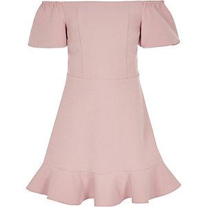 Robe de bal Bardot bouffante rose pour fille