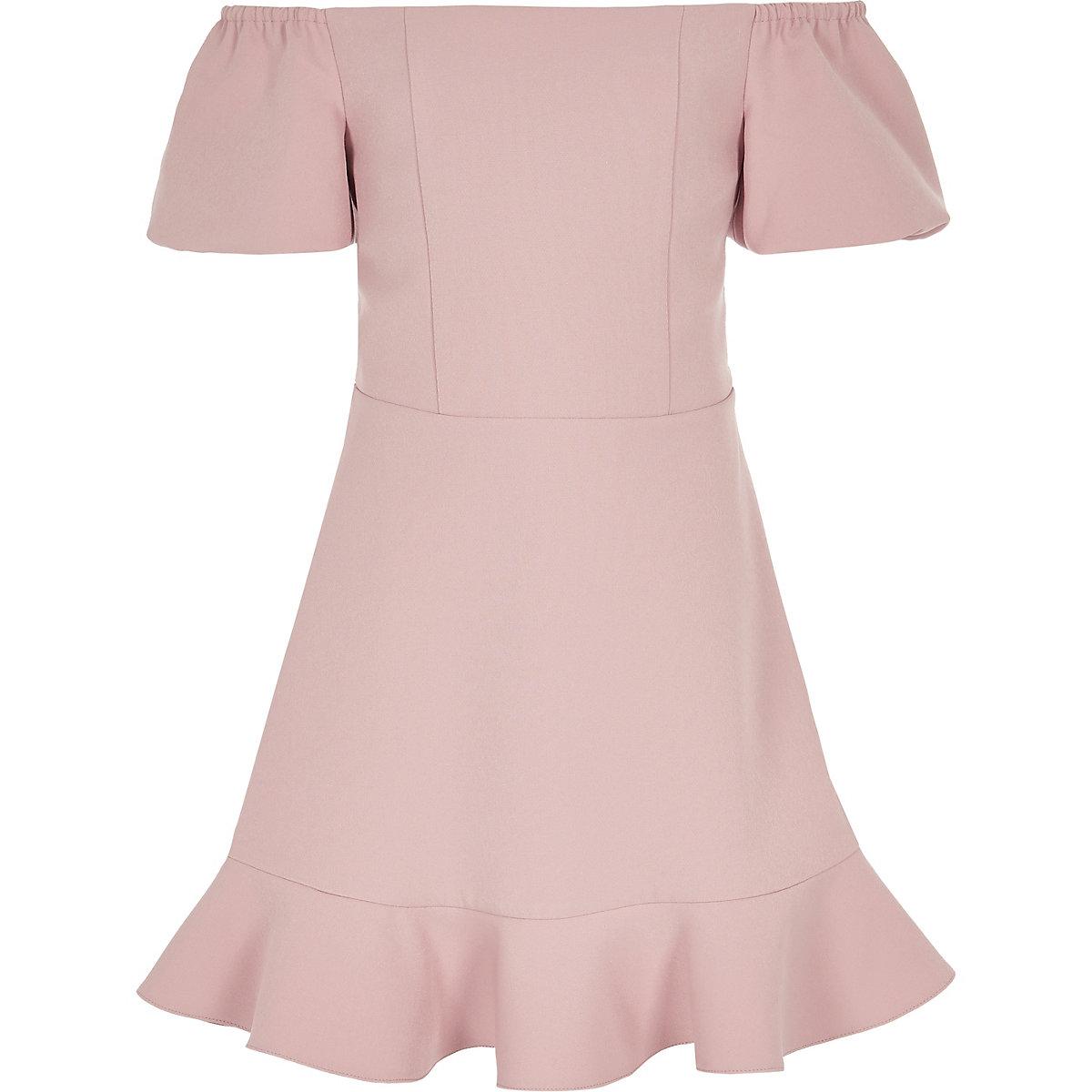 Girls pink bardot puff ball dress