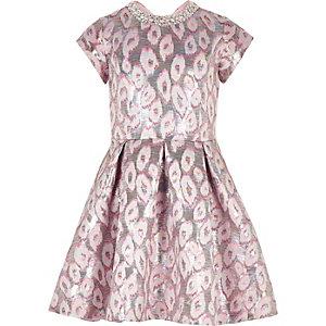 Girls pink leopard print jacquard prom dress