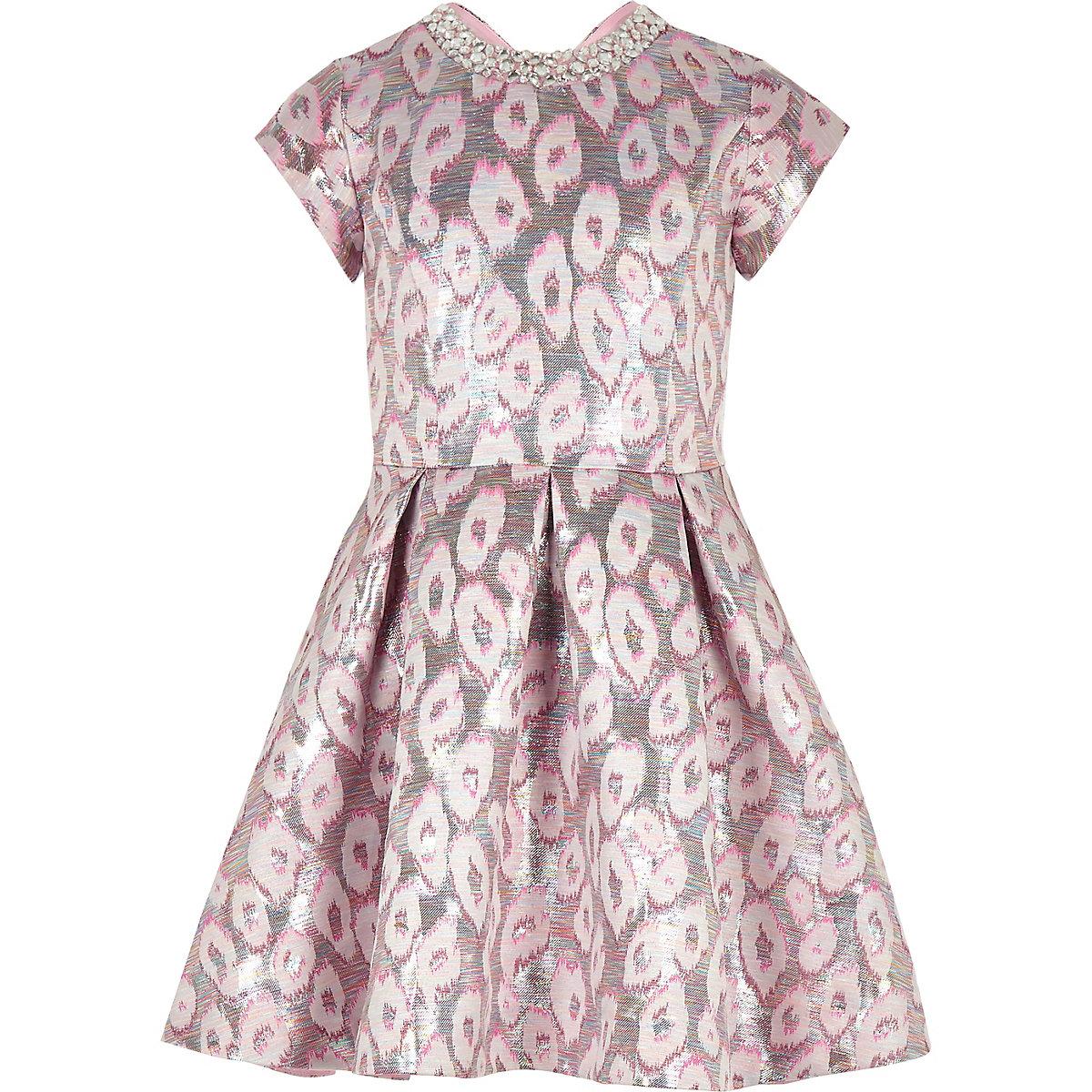 Girls pink leopard print jacquard prom dress - Party Dresses - Dresses -  girls 65b8e5130