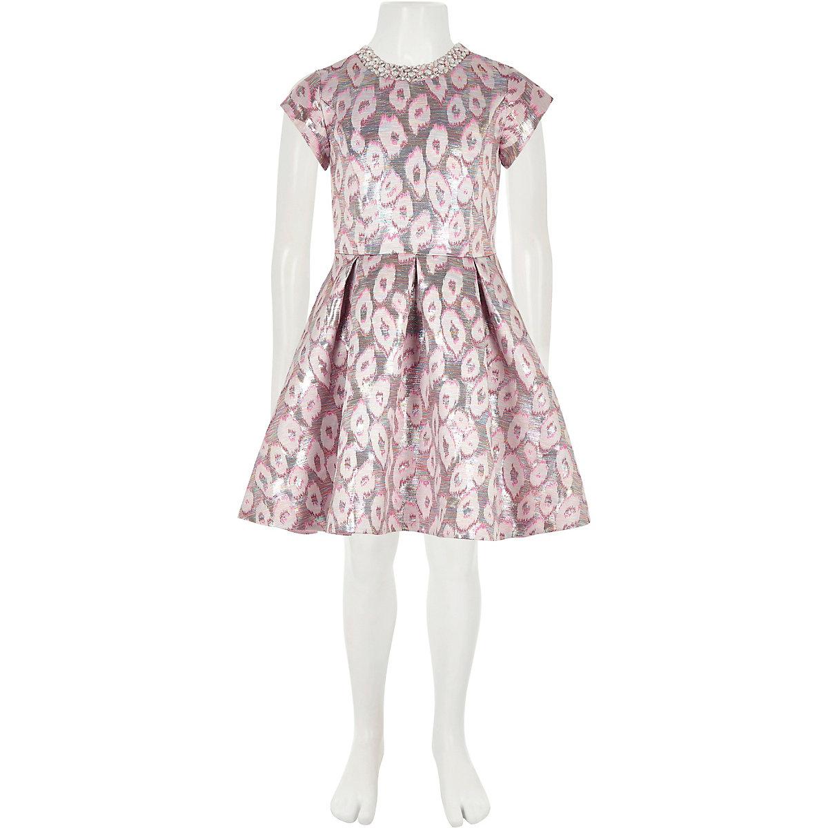 Girls pink leopard print jacquard prom dress - Party Dresses ... d36926822