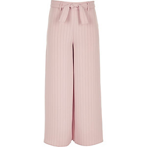 Girls pink stripe tie waist pants