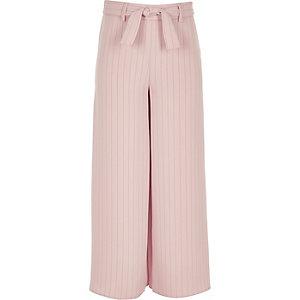 Pantalon rayé rose noué à la taille pour fille