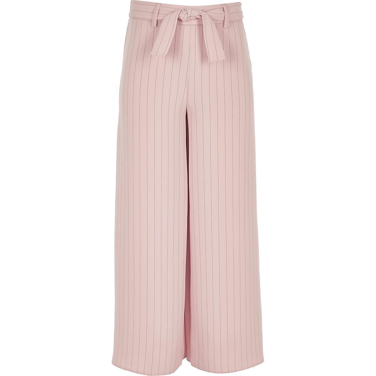 Girls pink stripe tie waist trousers