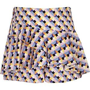 Blauwe skort met geometrische print en ruches voor meisjes
