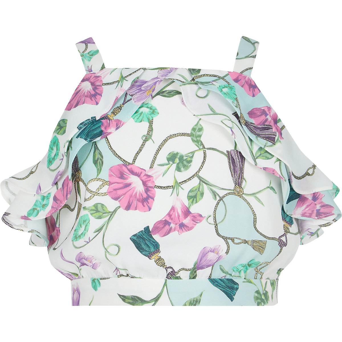 Girls cream floral frill top