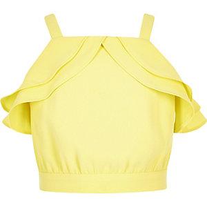 Top jaune à volants pour fille