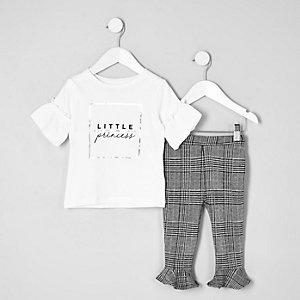 Ensemble avec t-shirt à imprimé « Princess » blanc pour mini fille