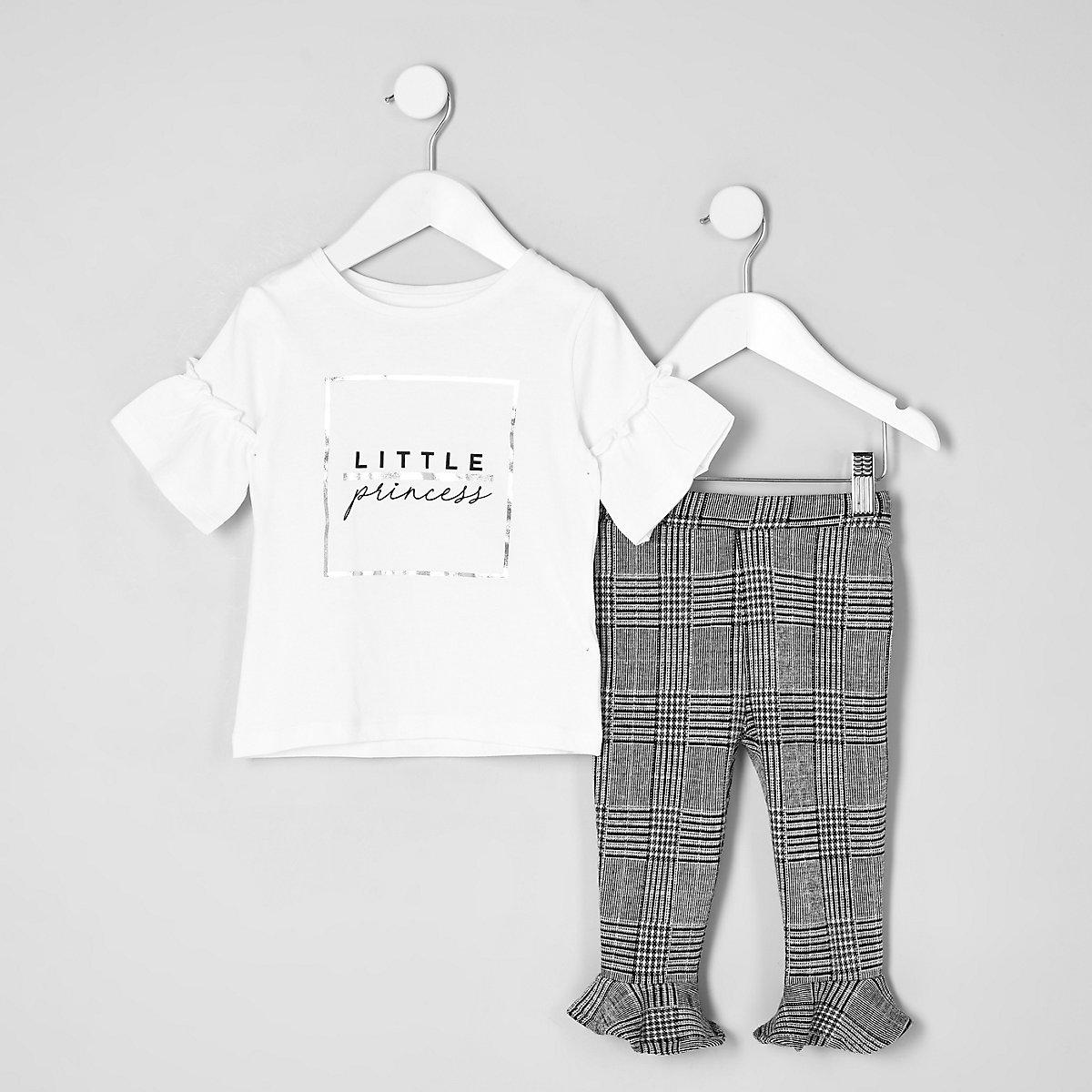 Mini girls white 'Princess T-shirt outfit