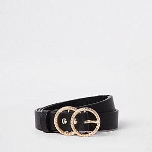 Zwarte jeansriem met dubbele cirkelgesp en textuur