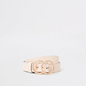 Girls light pink double ring jeans belt