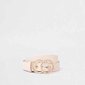 Lichtroze jeansriem met dubbele ring voor meisjes