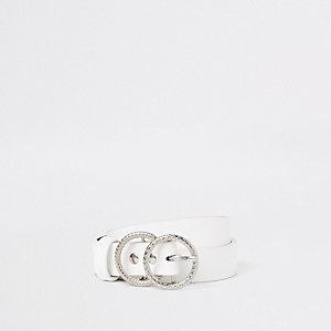 Witte jeansriem met dubbele ring voor meisjes