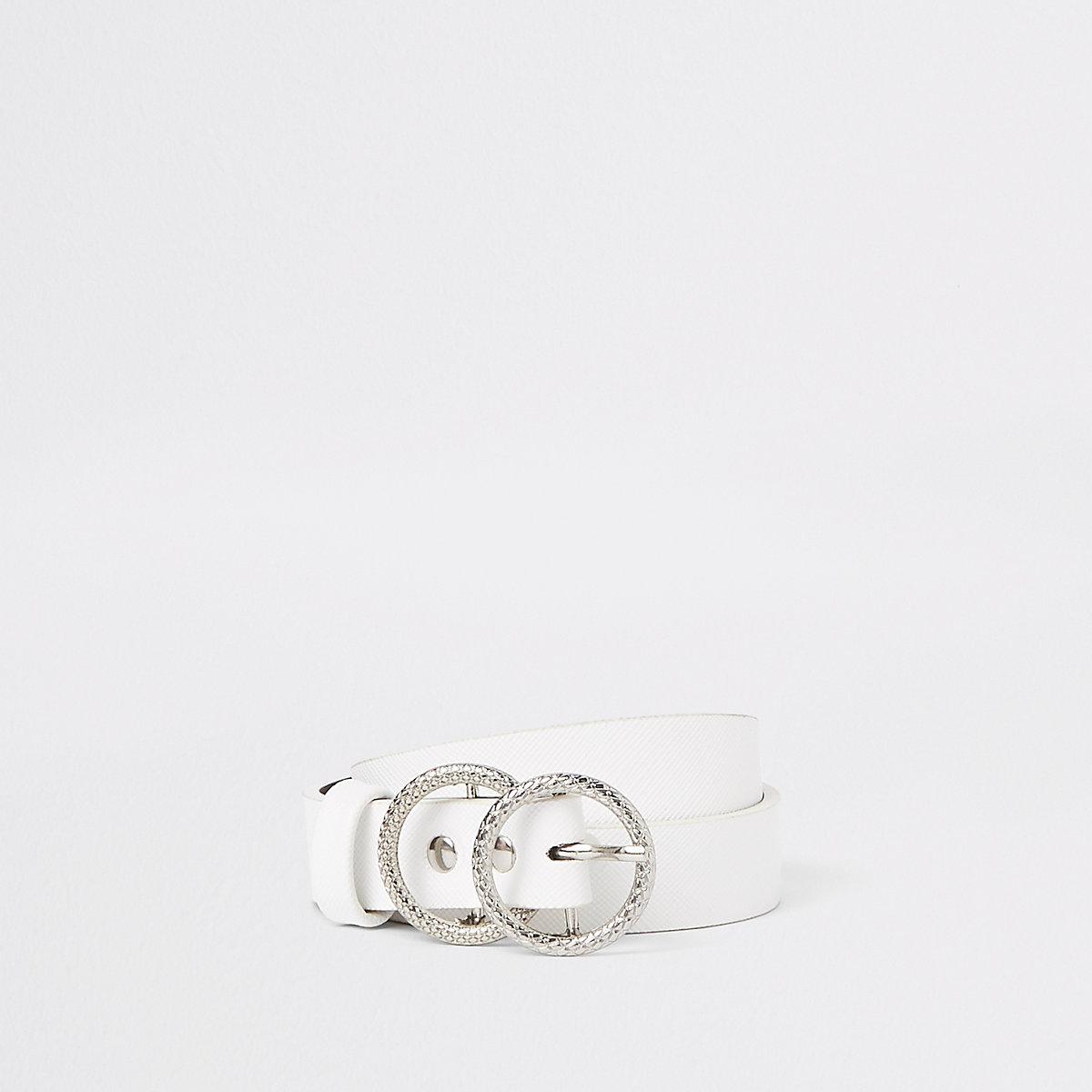 Girls white double ring jeans belt