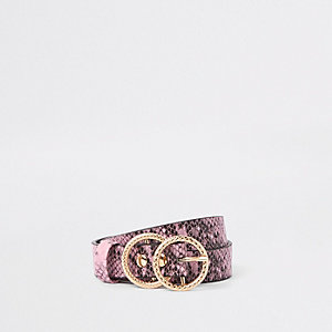 Pinker Gürtel in Schlangenlederoptik