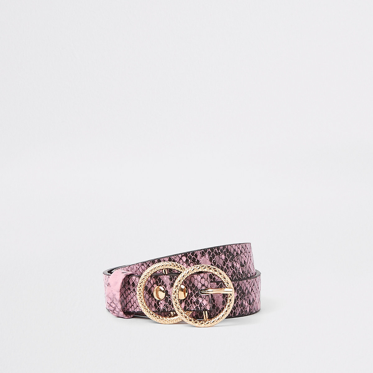 Girls pink snake print double ring belt