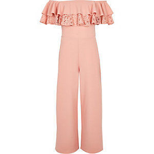 Girls pink bardot frill lace jumpsuit