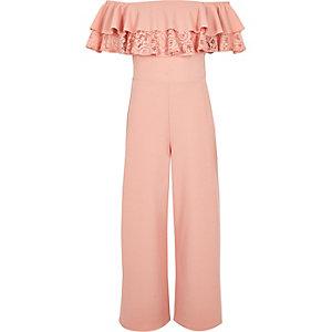 Combinaison Bardot en dentelle rose à volants pour fille