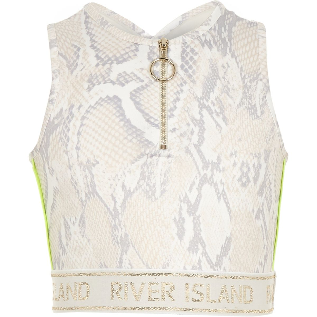 Girls RI Active white snake print crop top