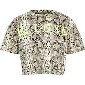 RI Active – Graues T-Shirt in Schlangenlederoptik