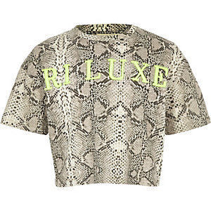 Girls RI Active grey snake print T-shirt