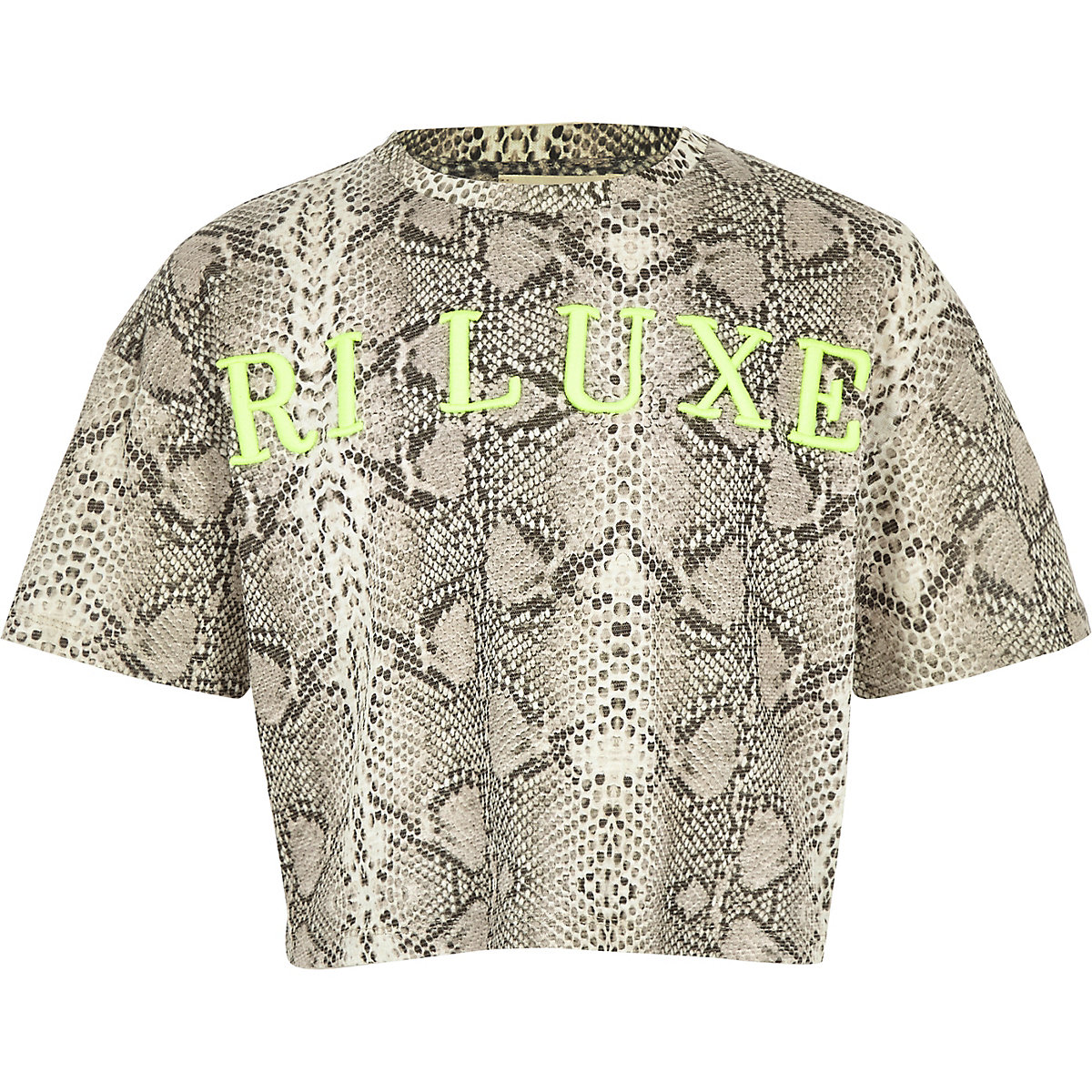 Girls RI Active grey snake print T-shirt