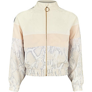 Girls RI Active white snake track jacket