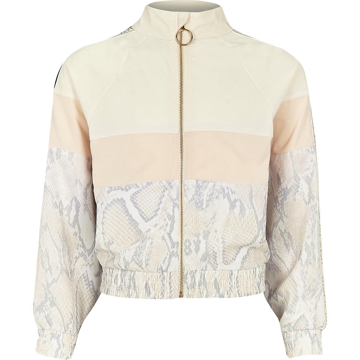 Girls RI Active white snake track jacket