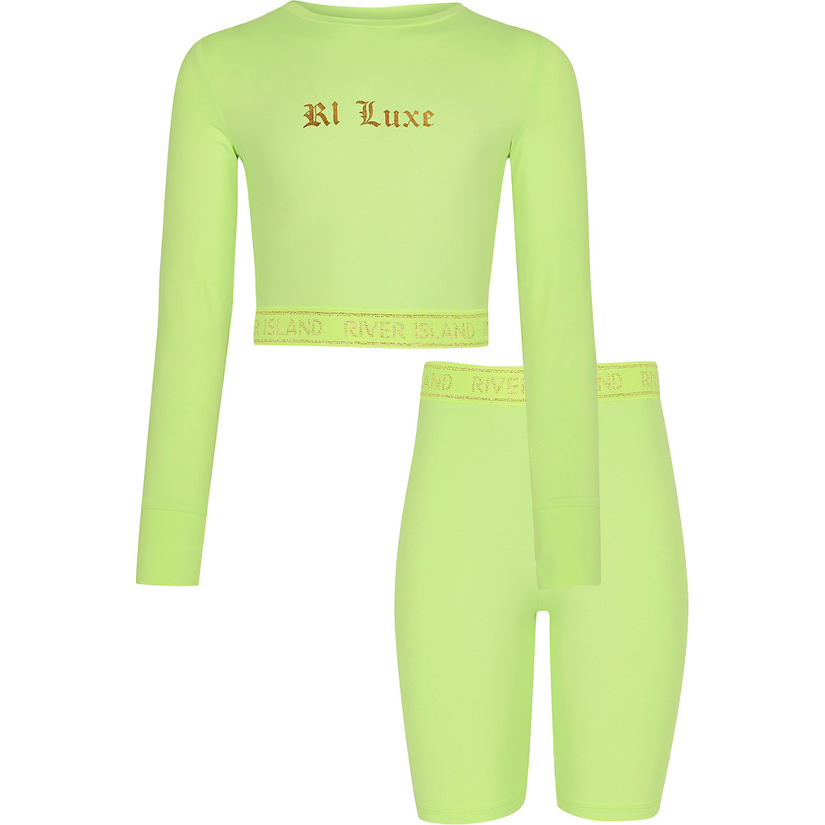 Girls RI Active green cycle short outfit