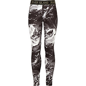 Girls RI Active black marble leggings