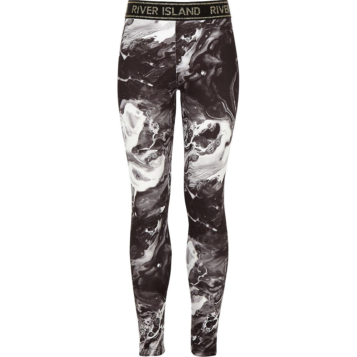 Girls RI Active black marble leggings