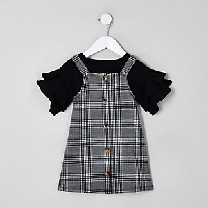 Mini girls black check pinafore dress outfit