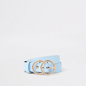 Girls blue double ring jeans belt