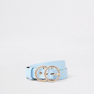 Blauwe jeansriem met en dubbele ring voor meisjes