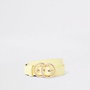 Gele jeansriem met dubbele ring voor meisjes