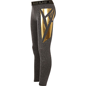 Girls RI Active grey panelled leggings