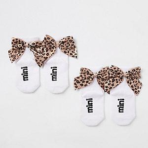 Mini girls white leopard bow ankle socks