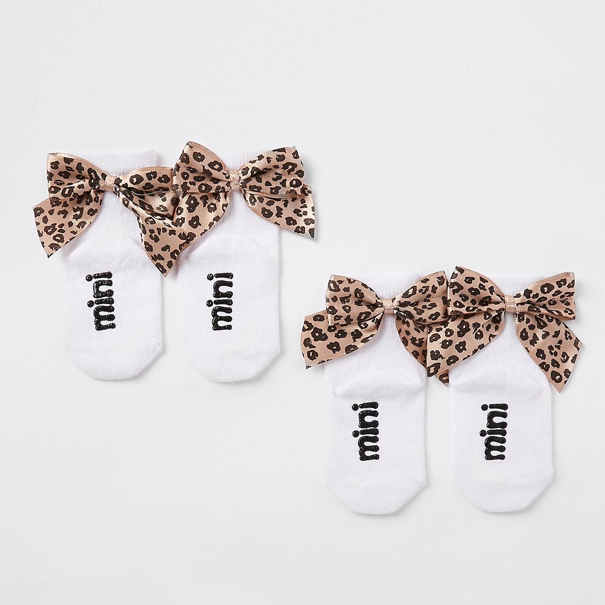 Mini girls leopard bow ankle socks multipack