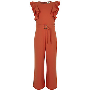 Girls red tie waist frill jumpsuit