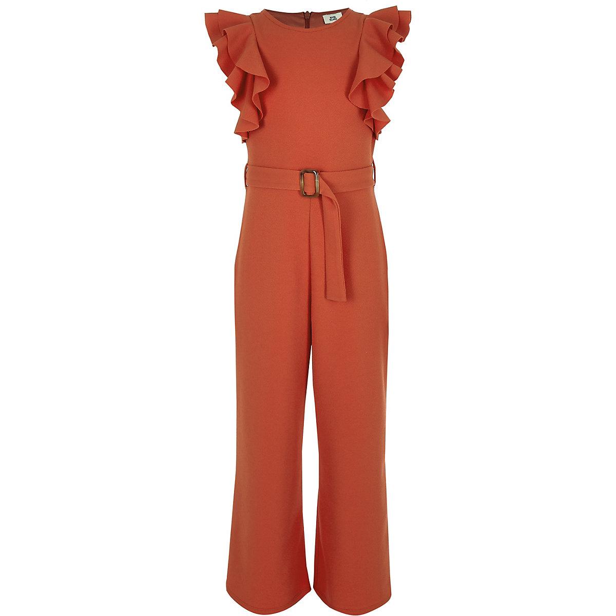 Girls red tie waist frill jumpsuit