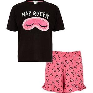 Zwarte korte pyjamaset met 'Nap queen'-print voor meisjes
