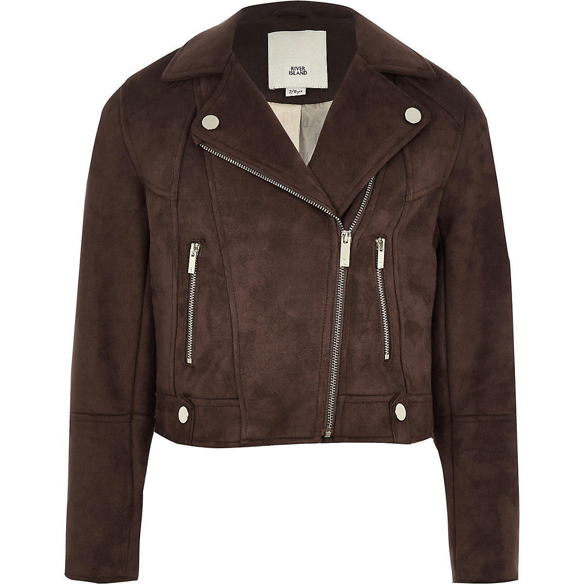 Girls brown faux suede biker jacket