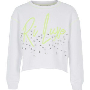 Girls RI Active white diamante sweatshirt