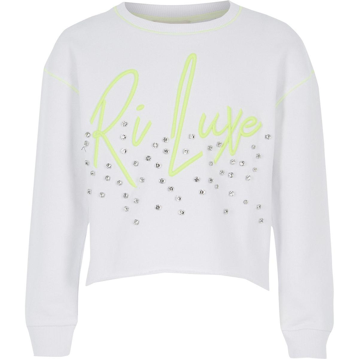 Girls RI Active white diamante sweatshirt