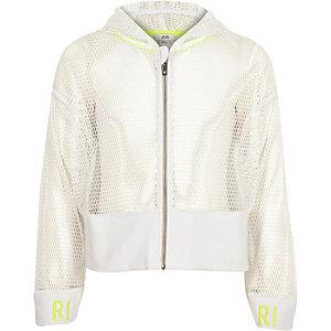 RI Active - Witte hoodie van mesh met rits voor meisjes
