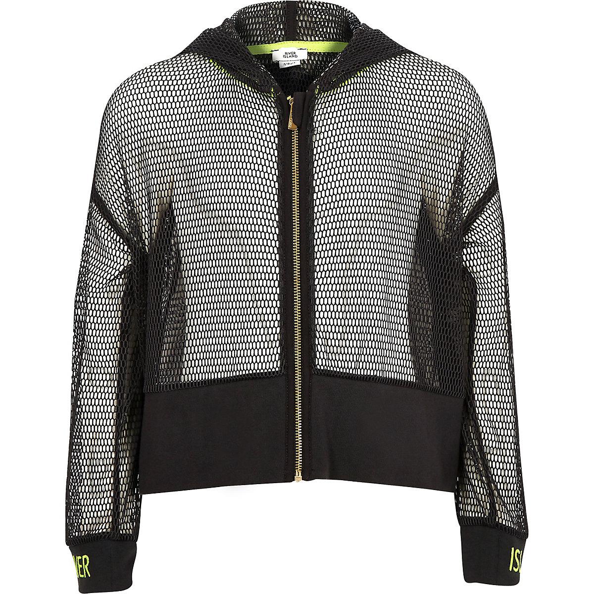 Girls RI Active grey mesh zip hoodie