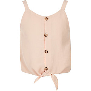 Girls pink tie front cami top