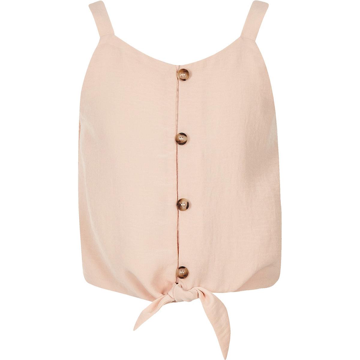 Girls pink tie front cami top